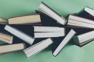 Arrangement of hardback books